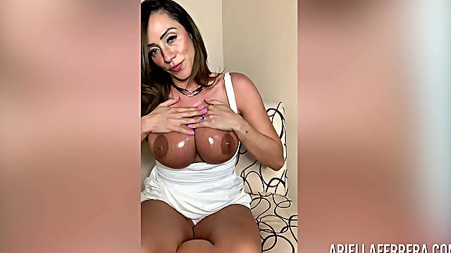 Having found a sex toy slutty busty MILF Ariella Ferrera goes solo