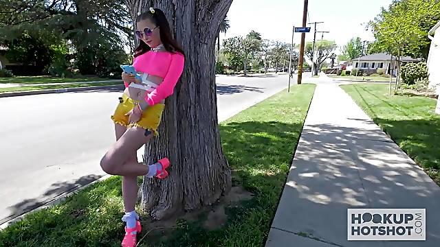 Lewd neighbor Bryan Gozzling pleases too naughty chick Carolina Sweets