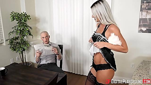 Naughty long legged blonde secretary is poked in standing pose at work