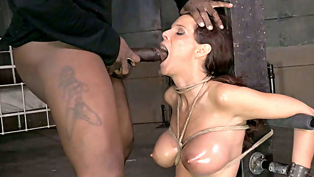 Black horny man mouth fucks tied up white hooker rough