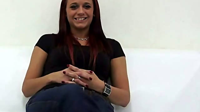 Ruined red-haired prostitute gives head to meaty hard penis in pov