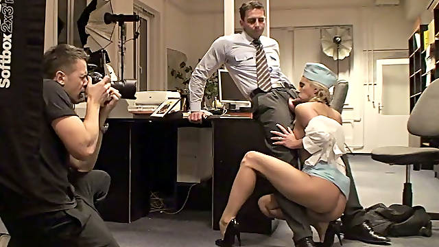 Classy stewardess gets her twat eaten and fucked in missionary position