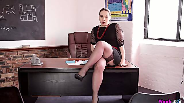 Very perverted Russian teacher Olga spreads legs and shows off her pussy