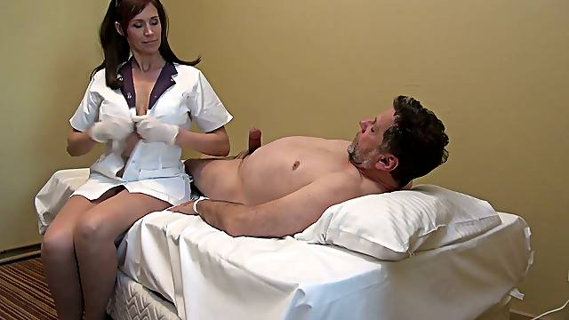 Blue eyed nurse is by patients side to wank his strong fat cock
