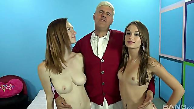 Lewd old pervert has a chance to fuck two young chicks doggy style