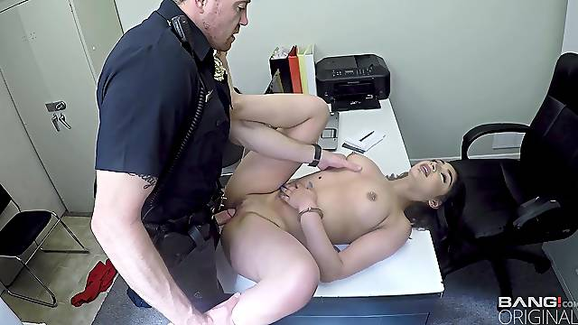 Busty amateur girl fucked by the cops after being caught stealing