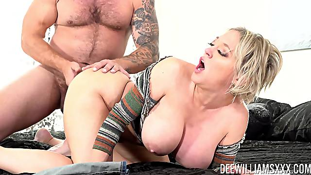 Tight mommy screams for more cock while enduring deep doggy hardcore