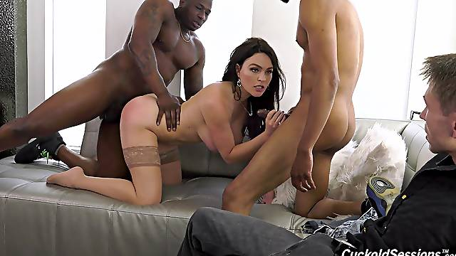 Marvelous cuckold with black lovers leads wife to extreme pleasure
