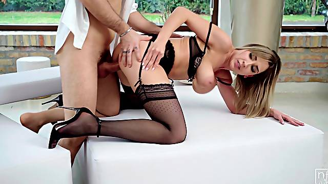 Looking fly in black lingerie, Siya Jey gets naked and fucks