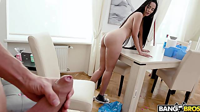 Nude brunette pleases son's desires at home