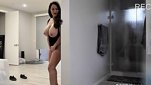 MILF with huge tits in stepson XXX cam shag
