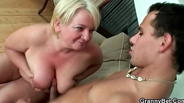 Titty fucking and doggystyle banging granny