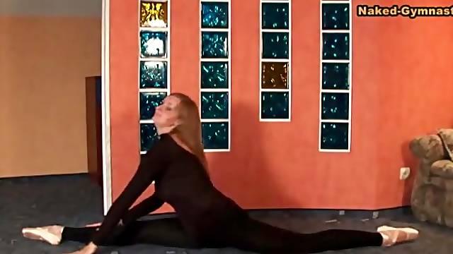 Skintight black spandex on ballerina beauty
