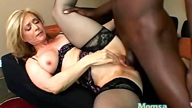 Nina Hartley interracial sex in black lingerie