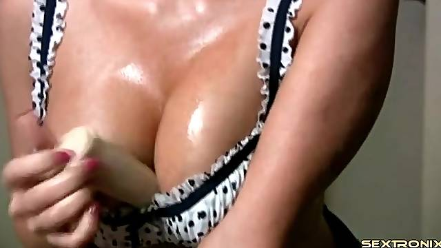 Dirty talking and titjob for a dildo