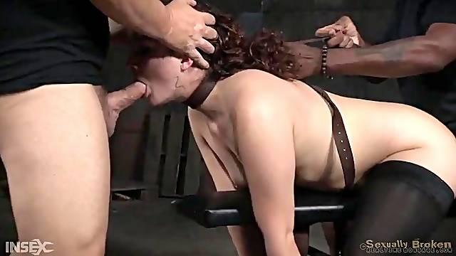 Curly hair girl in bondage used by hard dicks