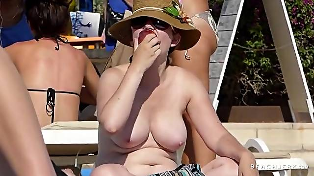 Big amateur tits are glorious on the beach