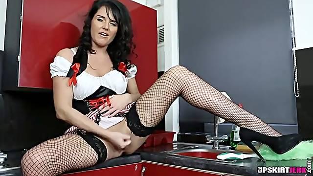 Maid uniform makes the British girl sizzling hot