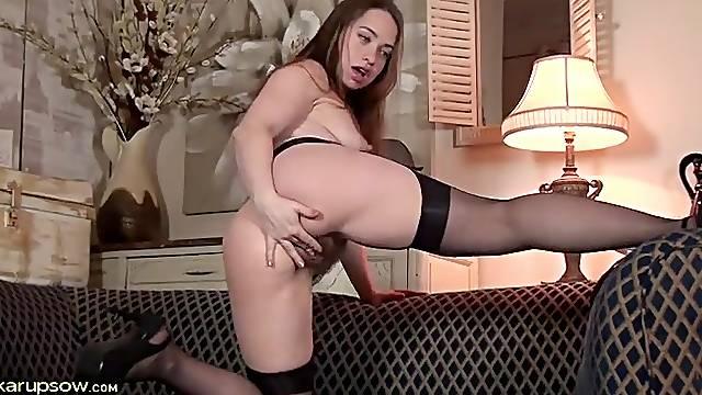 Girdle and stockings on a hot masturbating babe