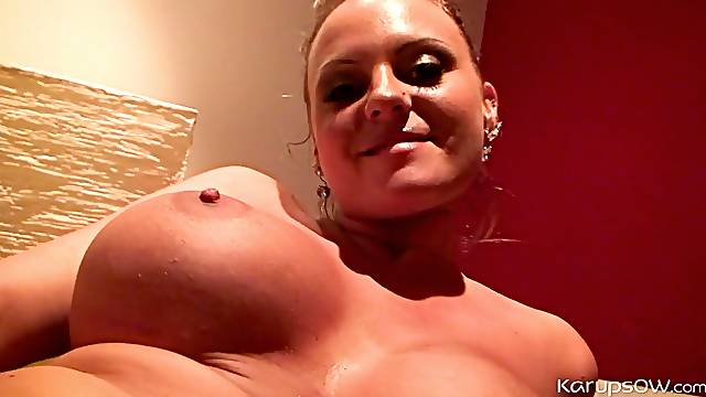 Big titty chick fucks a banana into her wet pussy