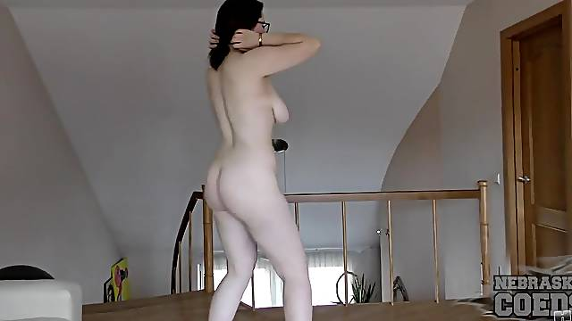 Shy college girl gets naked on camera for the first time