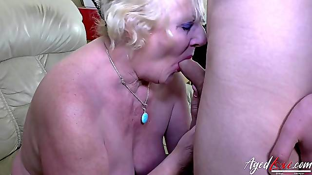 Granny in big panties swallows a young dick