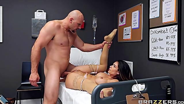 Muscular man fucks the nurse on the hospital bed