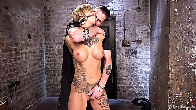 Restrained blonde endures rough clamping, ass spanking in brutal BDSM
