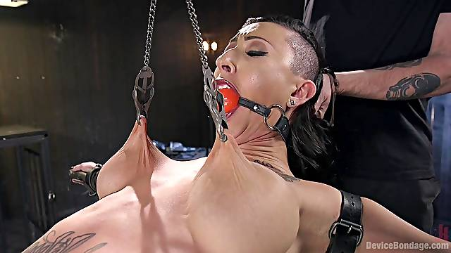 Clamped whore ass fucked in merciless ways while gagged