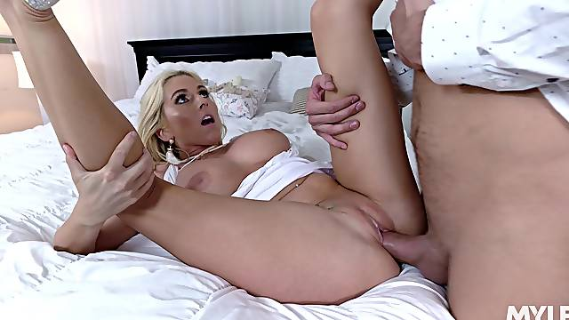Tight woman gets her pussy demolished by the future son in law
