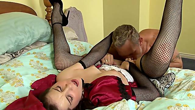 Mature in sexy fishnets enjoys good cock in her tiny holes