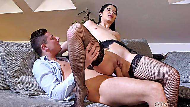 Brunette beauty rides the stiff dong in ways her boyfriend never expected