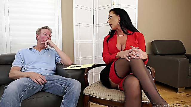 Insolent mature is pretty attracted to this man's dick