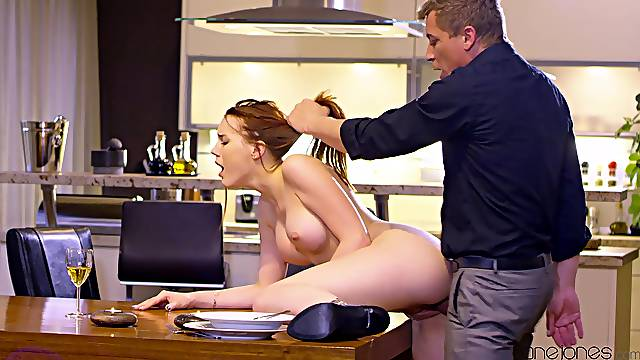 A romantic dinner at home leads to hot kitchen sex for Charlie Red