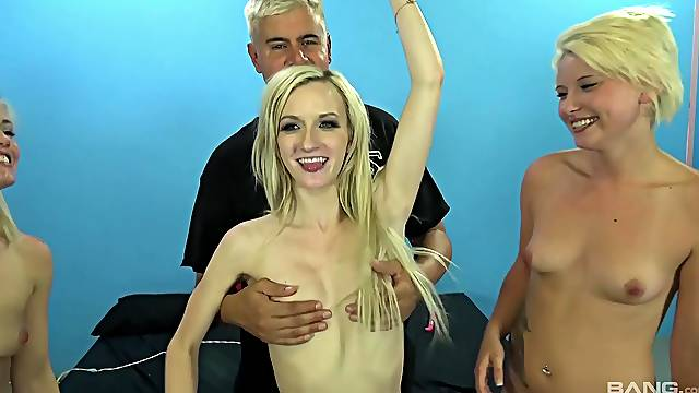 Blondes share Dan's cock in merciless group shag