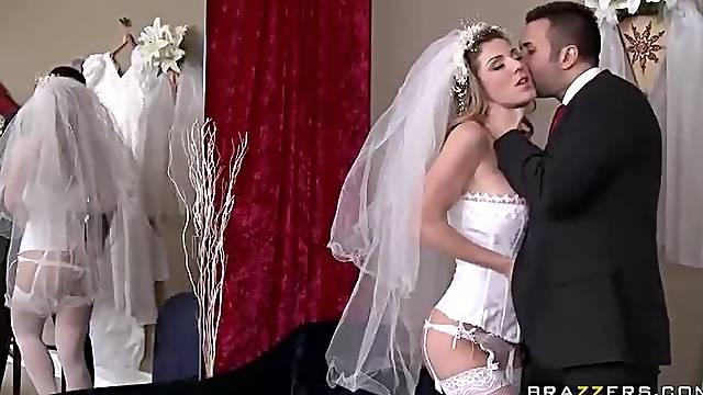 Bride in corset screwed hard
