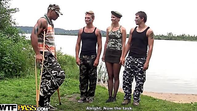 Military men gangbang hot blonde