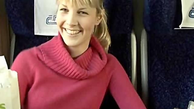 Girl in sweater train blowjob