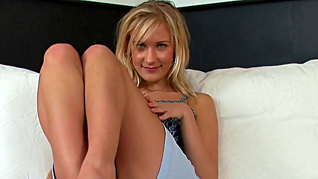 Blonde with natural tits swallows sperm