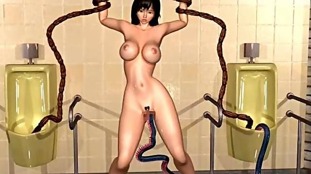 3D monster is fucking with busty schoolgirl