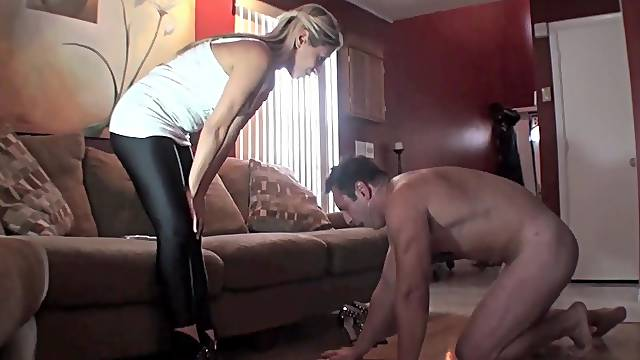 Awesome domination scene with pretty blonde