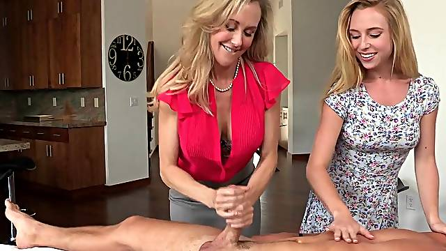 Strong sex with mommy and her daughter
