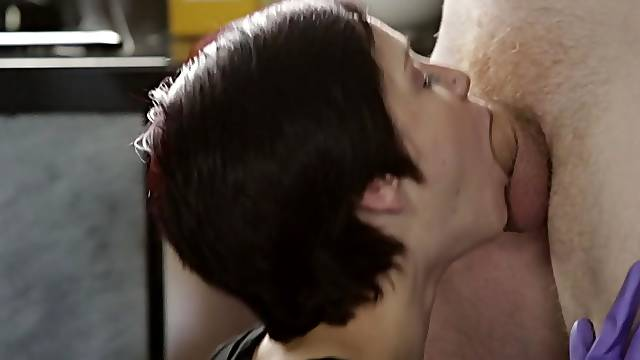 Teen with short hair, absolute passion on a big dick