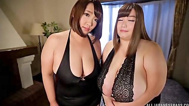 Japanese BBW porn in crazy hotel room threesome