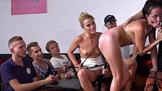 Upper floor orgy with mistresses and slaved girls