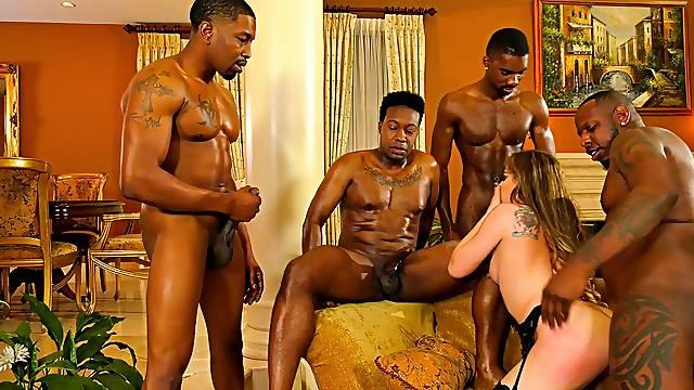 Black hunks share a whore in super intense gang bang