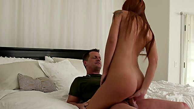 Sensual babe rides step daddy like she saw in the movies