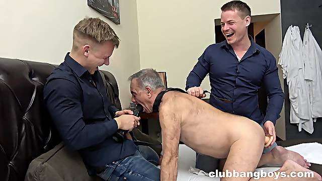 Grandpa gets his ass stuffed with toys and two large dicks