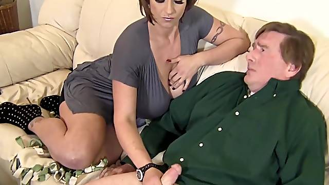 Sinister MILF Eva Notty tortures a guy's pathetic cock with her heels