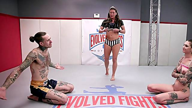 Tall tattooed tart Rocky Emerson gets it on after wrestling